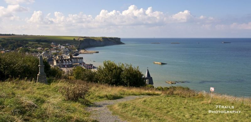 Gold Beach, Arromanches-Les-Bains and the remnants of the Mulberry, an artificial port constructed in the days after D-Day