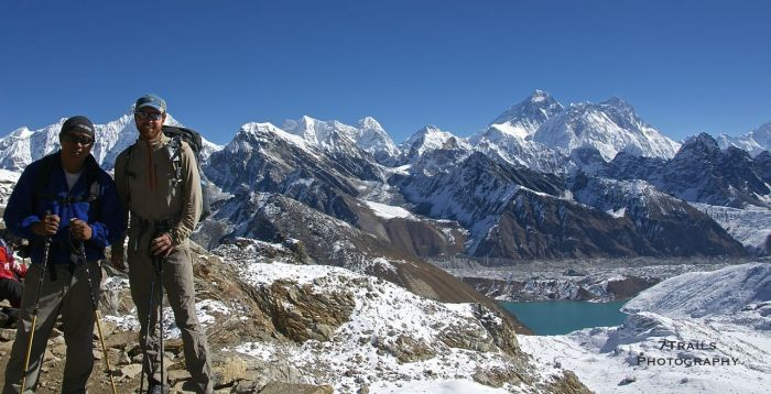Soaking in the Everest Panorama from Renjo La