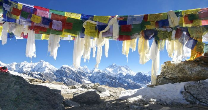 Everest Panorama and Prayer Flags