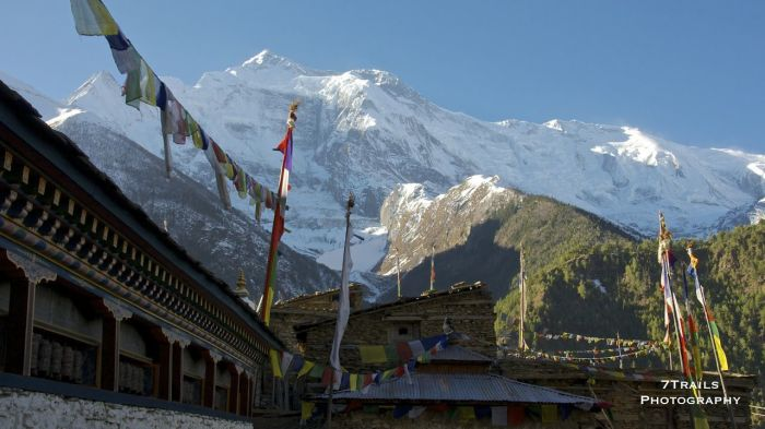 Annapurna II and Prayer Wheels in Upper Pisang