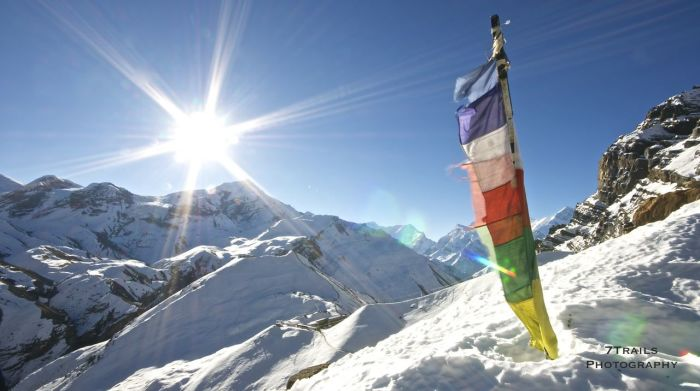 Prayer Flags above Thorung High Camp