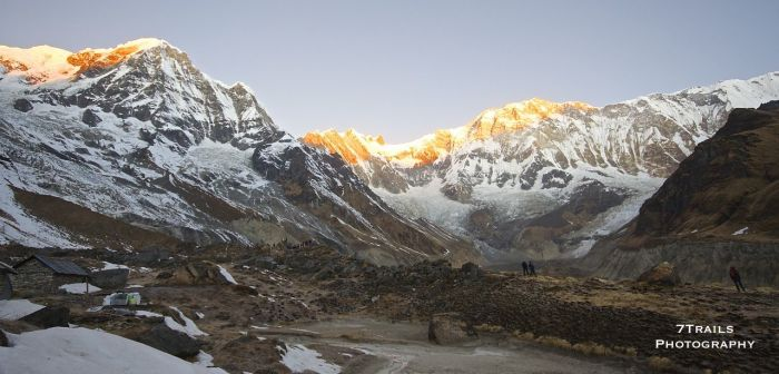First light on Annapurnas I and South