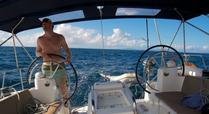 Travis at the helm