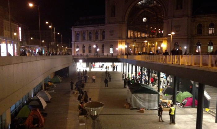 Remnants of refugee encampment outside Budapest's Keleti train station.