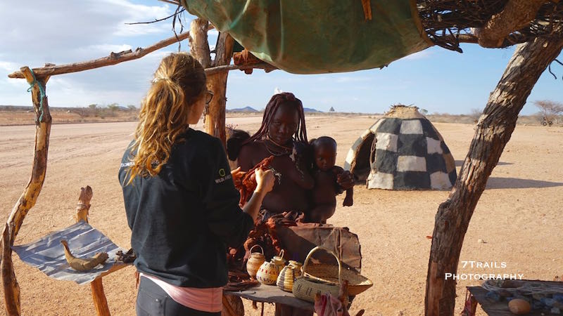 Jen working the negotiations with a Himba mother